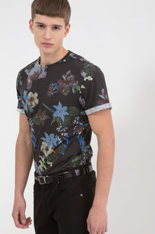 Floral patterned T-shirt, Blue, hi-res