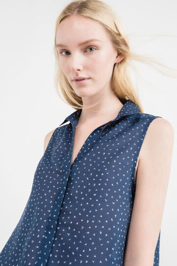 Sleeveless shirt with all-over print, Blue, hi-res
