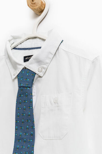 Button down cotton shirt with tie, Off-white, hi-res