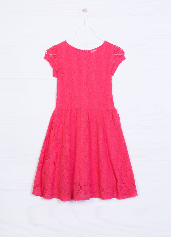 Solid colour sleeveless lace dress   OVS