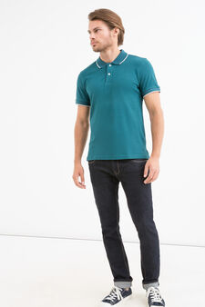 Solid colour polo shirt in 100% cotton, Forest Green, hi-res