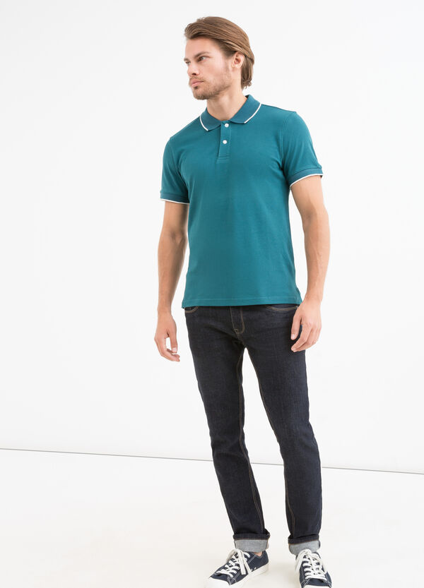 Cotton polo shirt with contrasting edges | OVS