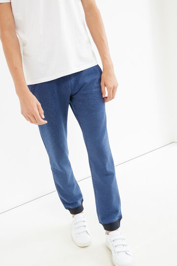 Joggers with elasticated ankles, Blue Marl, hi-res
