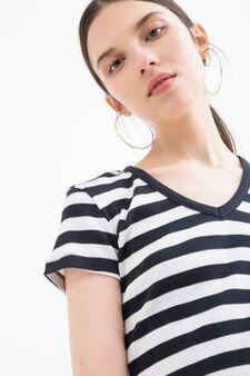 V-neck T-shirt in cotton blend, Navy Blue, hi-res