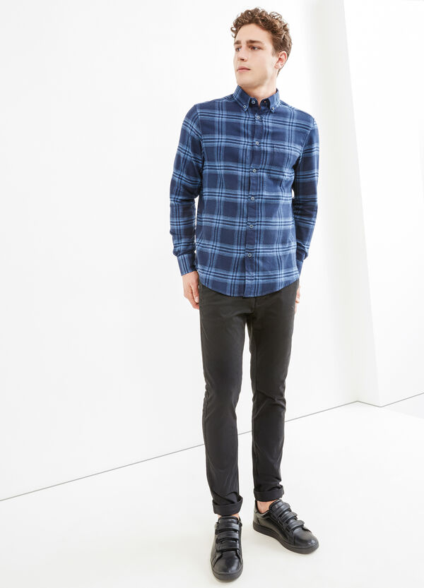 Casual check shirt with button-down collar | OVS