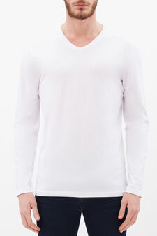 Long-sleeved T-shirt with V neck, White, hi-res