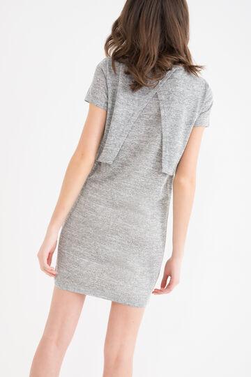 Solid colour stretch short dress., Grey, hi-res