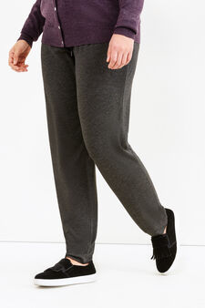Curvy trousers with elasticated waist band, Slate Grey, hi-res