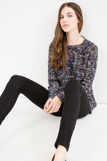 Solid colour skinny fit stretch jeans, Black, hi-res