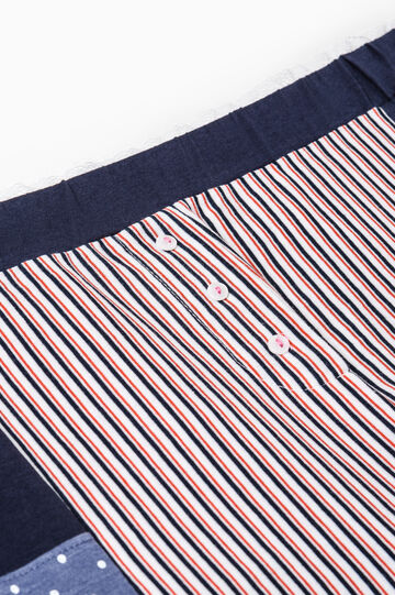 Pyjama shorts with polka dot and striped pattern, Navy Blue, hi-res