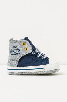 Printed high-top sneakers, Blue/Grey, hi-res