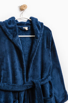 Bathrobe with hood, Navy Blue, hi-res