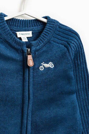 Cotton blend knitted and embroidered cardigan, Royal Blue, hi-res