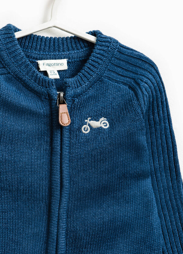 Cotton blend knitted and embroidered cardigan | OVS