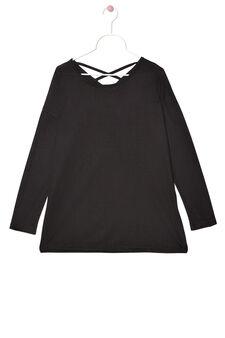 T-shirt pura viscosa tinta unita, Nero, hi-res