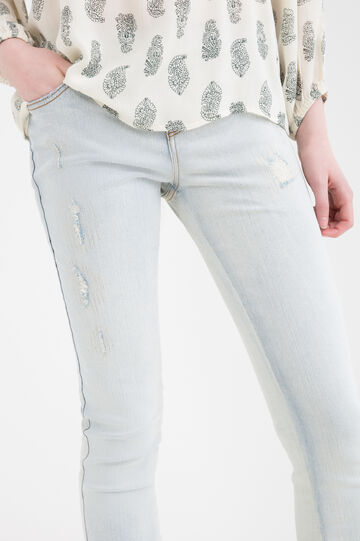 Stretch skinny fit jeans with abrasions, Light Wash, hi-res