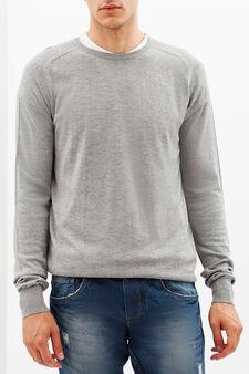 Maglione con scollo rotondo, Grigio chiaro, hi-res