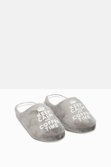 Slippers with printed lettering, Light Grey, hi-res