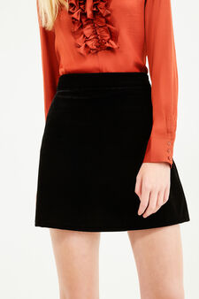 High-waisted skirt with side zip, Black, hi-res