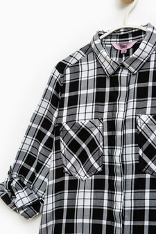 Check shirt in 100% cotton, White/Black, hi-res