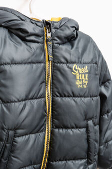 Down jacket with printed lettering, Multicolour, hi-res