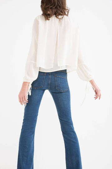 Long-sleeved blouse, with faux layering., Milky White, hi-res