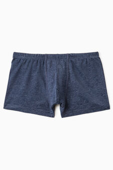 Boxer cotone con vita elasticata, Blu denim, hi-res