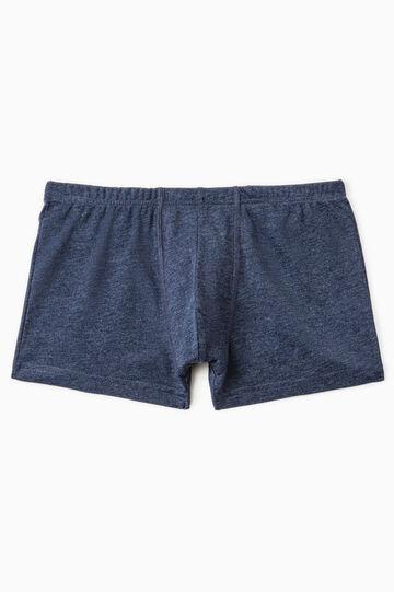 Cotton boxer shorts with elasticated waistband, Denim Blue, hi-res