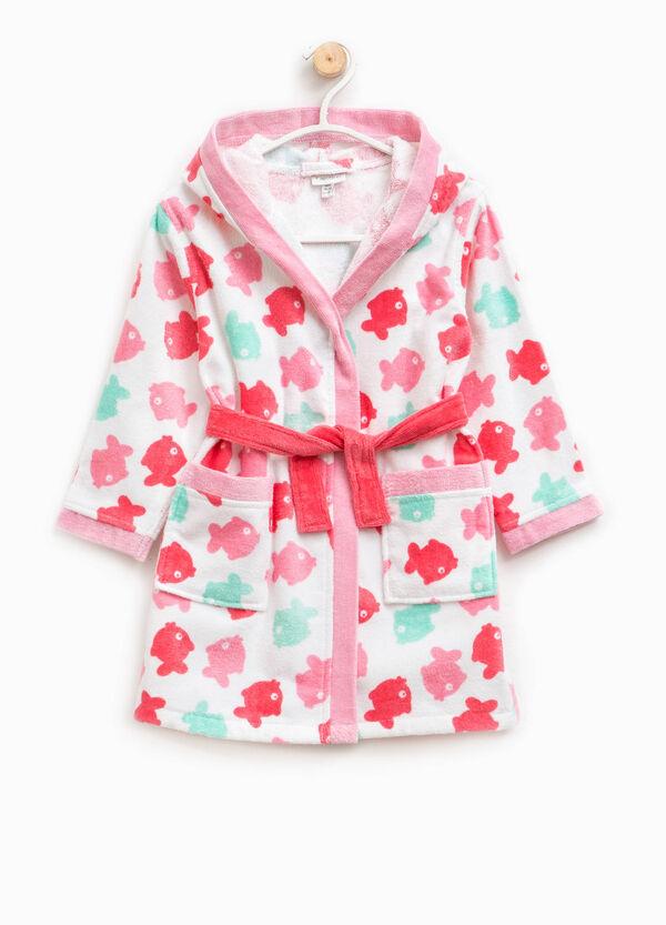 Cotton bathrobe with fish print | OVS