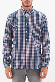Tartan shirt with button down collar, White/Blue/Red, hi-res