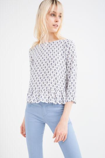 Printed blouse in 100% viscose., White, hi-res