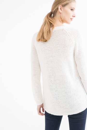 Solid colour V-neck pullover, White, hi-res