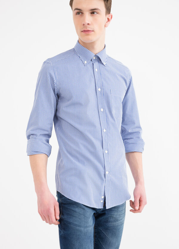 Slim fit check cotton shirt | OVS