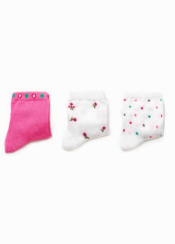 Three-pair pack short socks with embroidery and pattern | OVS