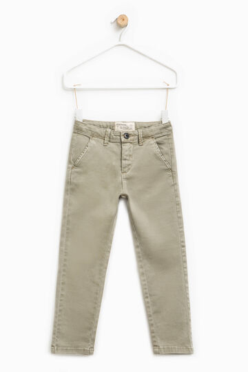 Slim fit, stretch cotton chino trousers, Ice White, hi-res
