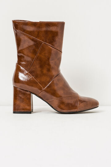 Shiny ankle boots with side zip, Light Brown, hi-res
