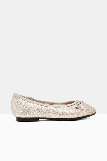 Glitter ballerina pumps with round toe, Golden Yellow, hi-res