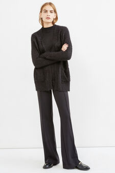 Cardigan with buttonless opening, Black, hi-res