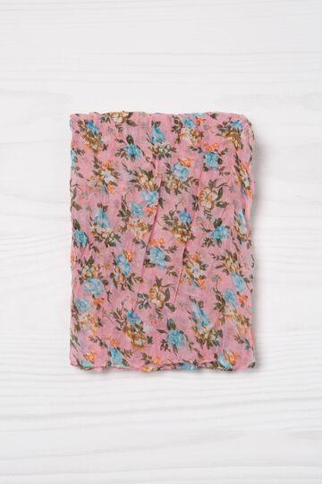 Floral print creased scarf, Pink, hi-res