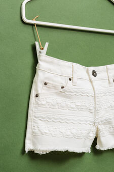 Stretch cotton shorts with fringed hem, Off-white, hi-res