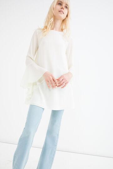 Blusa maniche scampanate, Bianco panna, hi-res