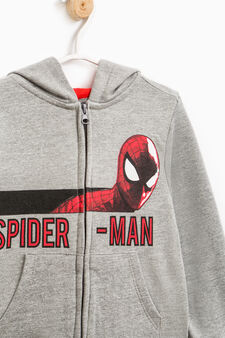 Cotton hoodie with Spiderman print, Grey/Red, hi-res