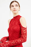 Tube dress in stretch embroidered lace, Red, hi-res