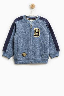 Cotton mélange sweatshirt with zip, Blue Marl, hi-res