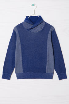 100% cotton knitted pullover, Blue/Grey, hi-res