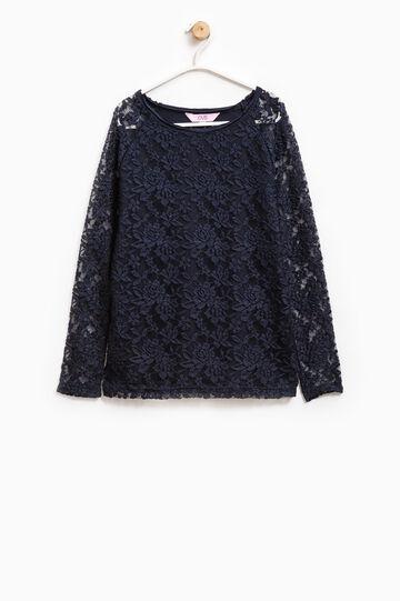 Stretch lace T-shirt, Blue, hi-res