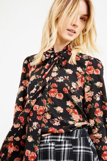Floral print stretch blouse, Black, hi-res