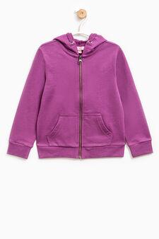 Solid colour 100% cotton sweatshirt, Plum, hi-res