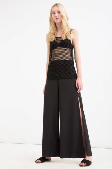 Solid colour openwork stretch top, Black, hi-res