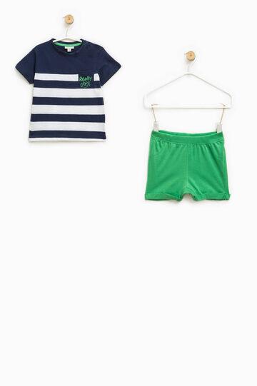 Completo t-shirt rigata e pantaloncini, Blu/Verde, hi-res